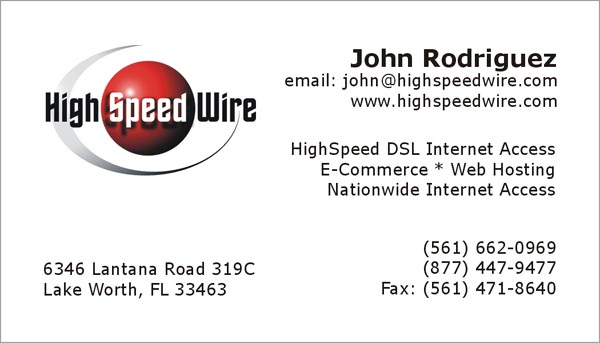 High Speed Wire business card