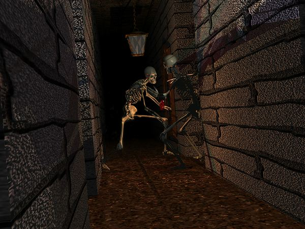 Skeletons in a dark hallway